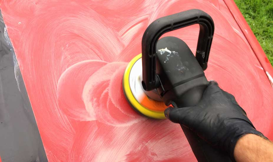 Buffing red car