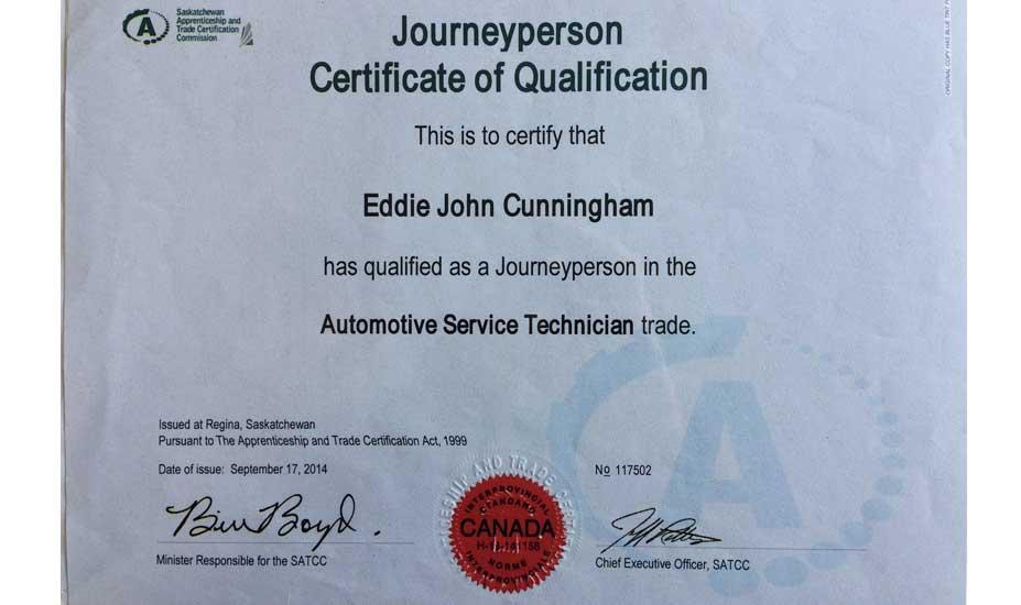 John Cunningham Red Seal auto technician cert