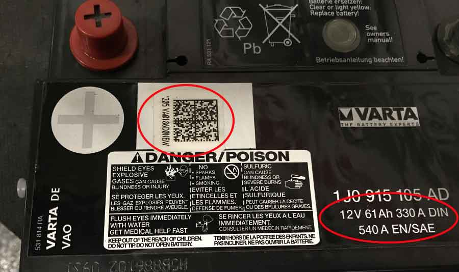 Battery size and code