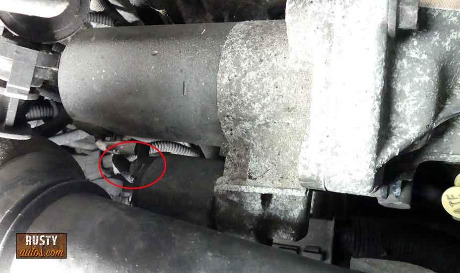 Removing starter motor wiring