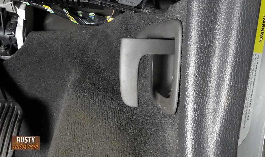 Hood handle stuck