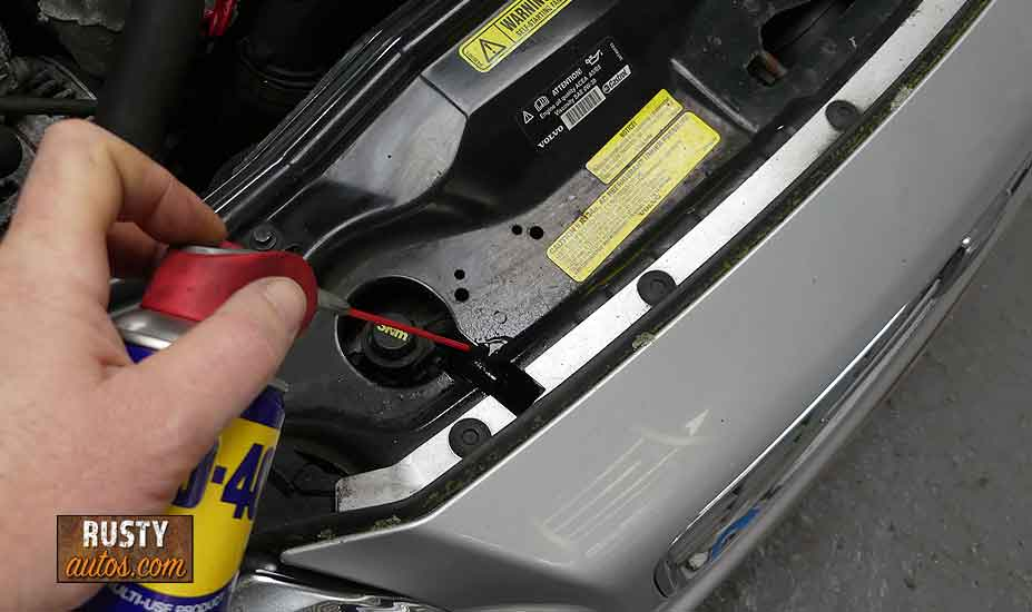 Lube hood lock with WD40