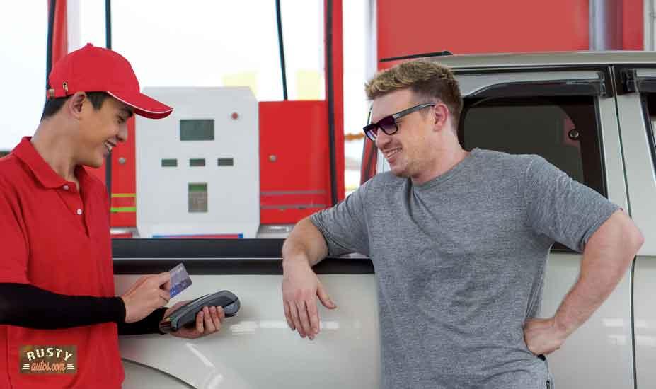 Pickup at gas station