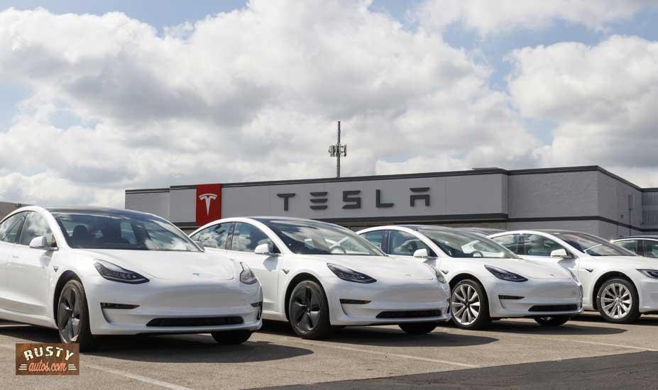 Tesla on car lot