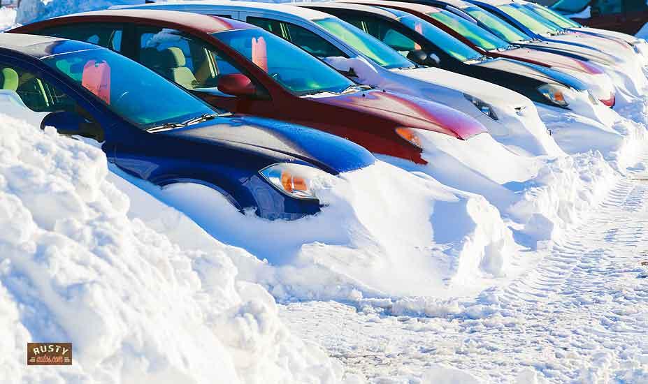 Car sales lot in winter
