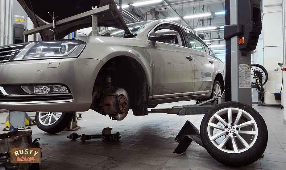 VW on workshop hoist